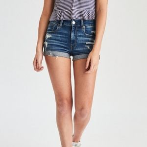 American Eagle hi-rise shortie distressed shorts